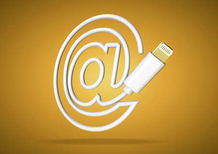 lightening: Lightening computer cable on yellow background forms  symbol for email address