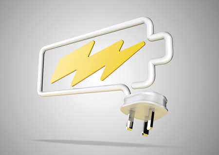 power failure: Electricity cable and plug bends to make the shape of a battery icon with an electrical lightening bolt.