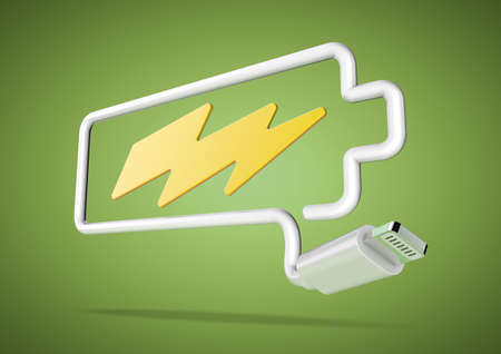 lightening: Computer cable and plug bends to make the shape of a battery icon with an electrical lightening bolt.