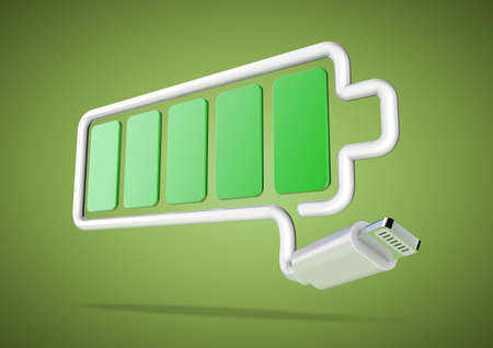 power failure: Smart phone cable forms full battery symbol on green background