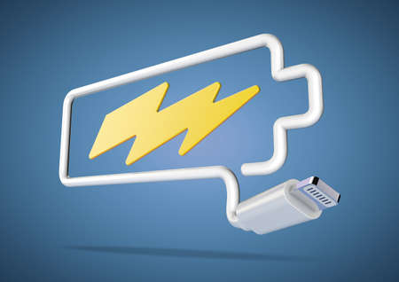 power switch: Computer cable and plug bends to make the shape of a battery icon with an electrical lightening bolt.