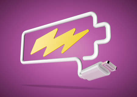 power failure: Computer cable and plug bends to make the shape of a battery icon with an electrical lightening bolt.
