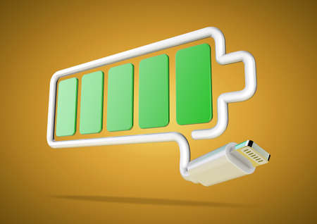 power failure: USB cable forms mobile device battery icon - fully charged Stock Photo