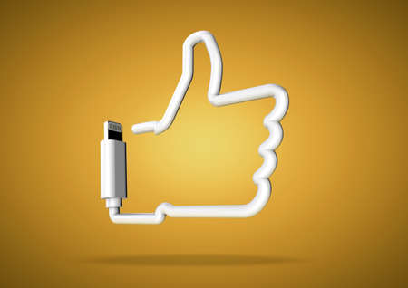 Computer cable bends to make the shape of a internet social media like icon