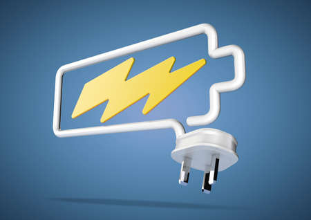 lightening: Electricity cable and plug bends to make the shape of a battery icon with an electrical lightening bolt.