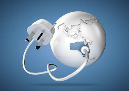 An electricity cable and plug connects to Australia on world globe. Concept for power and electricity usage in australia. photo