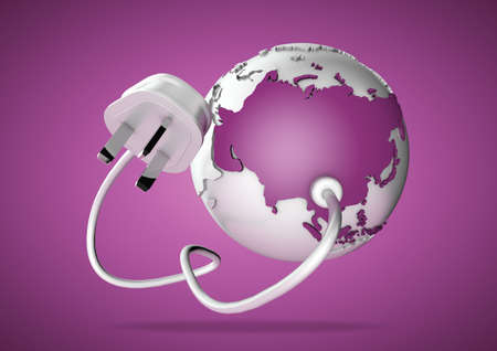 An electricity cable and plug connects to Asia on world globe. Concept for power and electricity usage in Asia. Power Cuts. photo