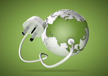 An electricity cable and plug connects to Asia on world globe. Concept for power and electricity usage in Asia. Load Shedding. photo