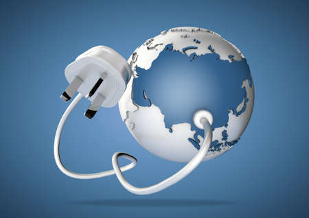 shedding: An electricity cable and plug connects to Asia on world globe. Concept for power and electricity usage in Asia. Load Shedding.
