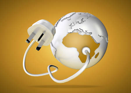 An electricity cable and plug connects to Africa on world globe. Concept for power and electricity usage in Africa. Load Shedding. photo