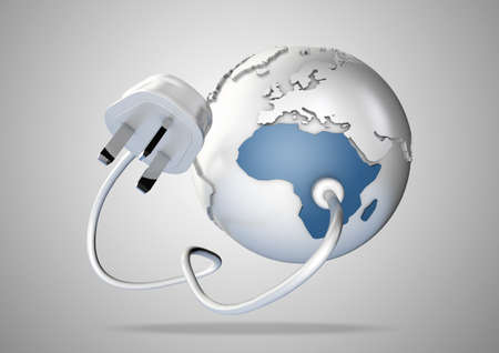 power failure: An electricity cable and plug connects to Africa on world globe. Concept for power and electricity usage in Africa. Load Shedding.