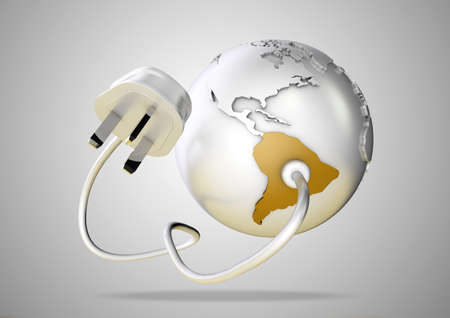 power failure: An electricity cable and plug connects to South America on world globe. Concept for power and electricity usage in South America.