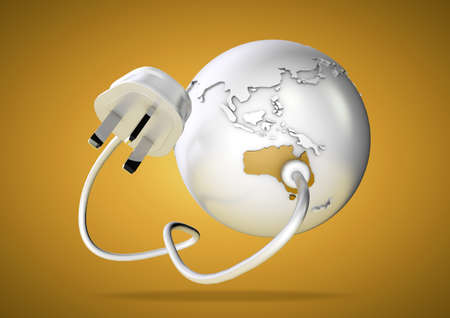 power failure: An electricity cable and plug connects to Australia on world globe. Concept for power and electricity usage in australia. Stock Photo