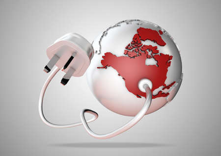 An electricity cable and plug connects to USA on world globe. Concept for power and electricity usage in North America. photo