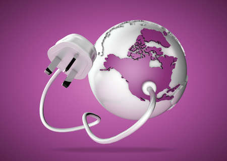 power failure: An electricity cable and plug connects to USA on world globe. Concept for power and electricity usage in North America.
