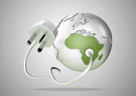 An electricity cable and plug connects to Africa on world globe. Concept for power and electricity usage in Africa. Load Shedding.
