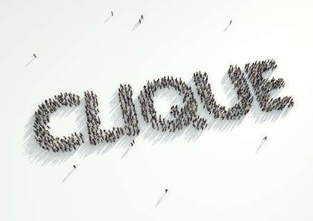 clique: Aerial shot of a crowd of people gather to form the word Clique. Concept for how like minded people with the same interests and beliefs stick together. Birds of a feather stick together as they say.