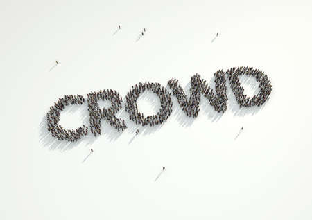 white backing: Aerial shot of a crowd of people forming the word Crowd. Concept for crowd funding platforms or projects that are supported financially by crowd funded websites.