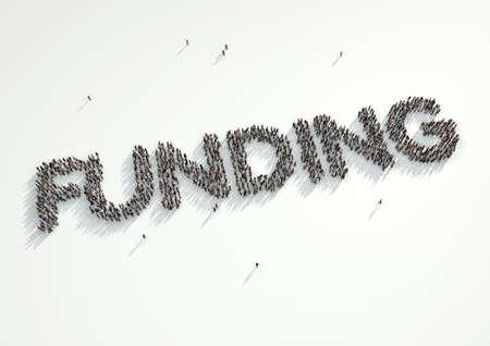 multitud: Vista a�rea de una multitud de personas que forman la palabra de Financiamiento Concepto para las plataformas de crowdfunding o proyectos que son apoyados financieramente por multitud financiado sitios web.