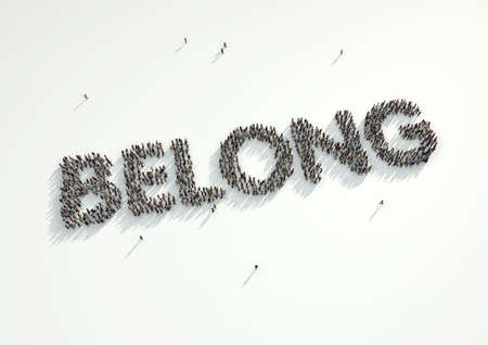 Aerial shot of a crowd of people forming the word Belong. Concept for how people feel like they belong if they conform and follow the crowd and refrain from being an individual.