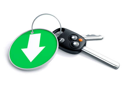 sectors: Set of car keys and keyring isolated on white with arrow on green  background pointing down. Concept for loss in car sales or vehicle manufacturing industries sectors.