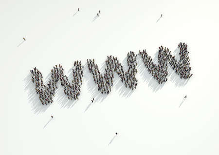 url: Aerial shot of a crowd of people gather to form the WWW internet web address url. Concept for the high volume of people who connect to and use the digital space, social media and the internet. Stock Photo