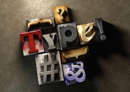 나무 인쇄 블록 양식 단어 '유형'. 오래 된 목조 인쇄 언론 블록을 사용하여 형식과 활자를 그래픽으로 봅니다.