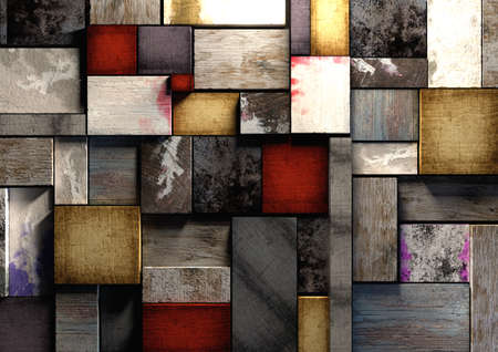 grunge wood: Colorful, grunge textured wooden printing blocks packed together to form a background texture. Shot from straight above. Red, blue and natural wood colors make wooden bricks or block wall. Stock Photo