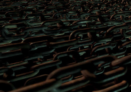 moody: Bunch of chains in moody lighting create grunge texture and background. Rusty metal chains. Stock Photo