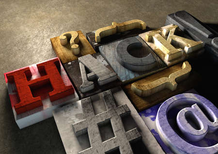 hack: Colorful, grunge textured wooden printing blocks packed together to form the word hack. Concept for hacking or stealing code, passwords and data.