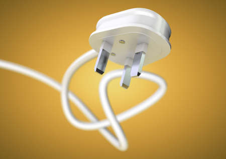 power failure: Electrical appliance plug attached to electricity cable. Strong depth of field. White plug and cable coiled isolated. Unplug an electrical appliance plug to save electricity.
