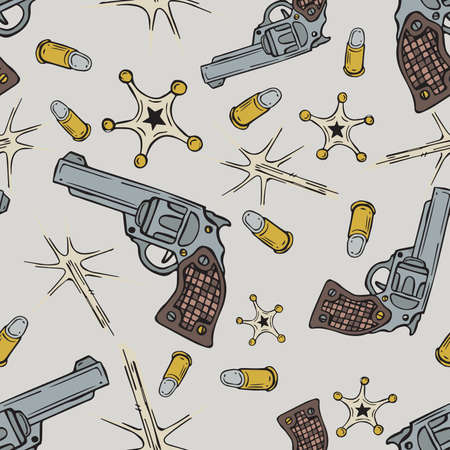 Cartoon style doodle drawings of seamless pattern of cowboy gun, bullets and sherif badge Stock Photo