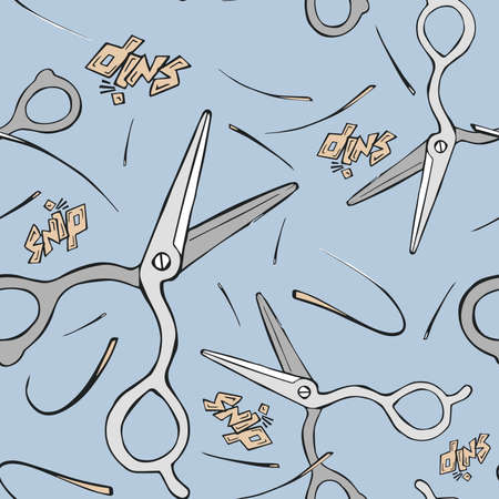cutting hair: Cartoon style illustrated Seamless pattern of hairdresser scissors cutting hair on pink background