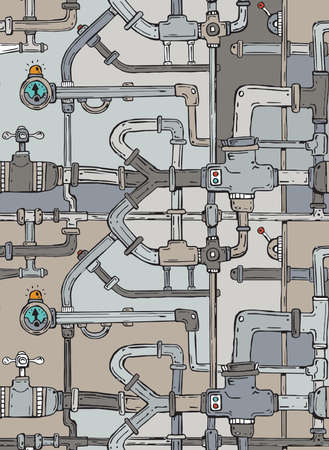 Network of cartoon pipes and plumbing fittings creating an endless maze drainage system with valves, pumps and gauges.