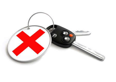 car for sale: Car keys with approved tick symbol on key ring. Concept for declined vehicle finance loan or sale.