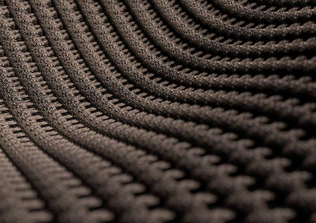 fibres: Microscopic close up of fabric or fibres showing the indvidual weaves of the cotton or wool fabric. Camera with strong depth of field. Background or texture. Stock Photo
