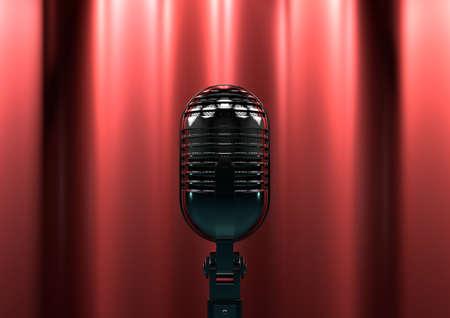 suspenso: Micrófono de la vendimia en el escenario con cortinas rojas. Iluminación del escenario Moody crea drama y suspenso.