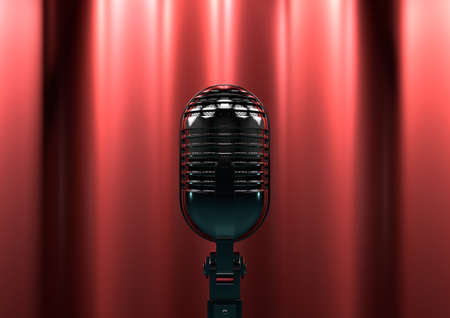 suspense: Vintage microphone on stage with red curtains. Moody stage lighting creates drama and suspense.