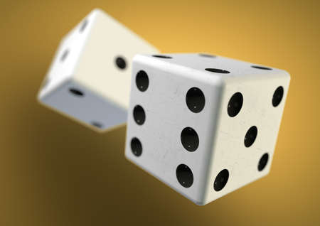 bet: Two die dice captured rolling in mid air while being thrown in casino, board game or gambling. Taking a chance on a bet. Stock Photo