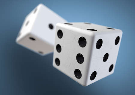 dice: Two die dice captured rolling in mid air while being thrown in casino, board game or gambling. Taking a chance on a bet. Stock Photo