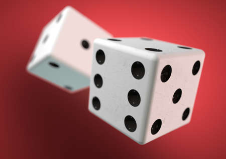 snake eyes: Two die dice captured rolling in mid air while being thrown in casino, board game or gambling. Taking a chance on a bet. Stock Photo