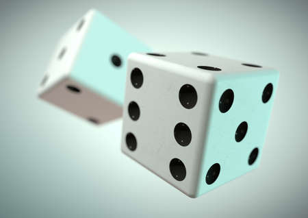 Two die dice captured rolling in mid air while being thrown in casino, board game or gambling. Taking a chance on a bet. Banque d'images