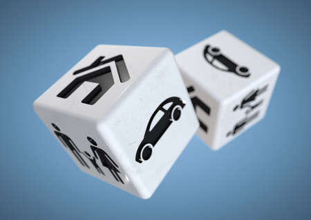 dire: Concept for gambling addiction. Gambling with your family, car and house. Rolling the dice, taking a chance on loosing everything you own.
