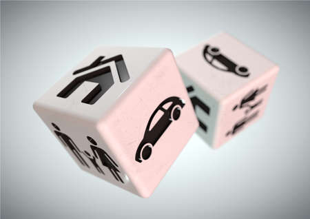 Concept for gambling addiction. Gambling with your family, car and house. Rolling the dice, taking a chance on loosing everything you own.