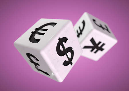 2 dice with currency symbols rolling isolated on background. Concept for financial advice when gambling or taking a chance on the financial stock markets.