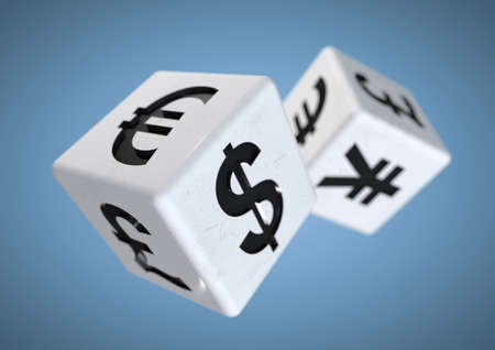 volatile: 2 dice with currency symbols rolling isolated on background. Concept for financial advice when gambling or taking a chance on the financial stock markets.