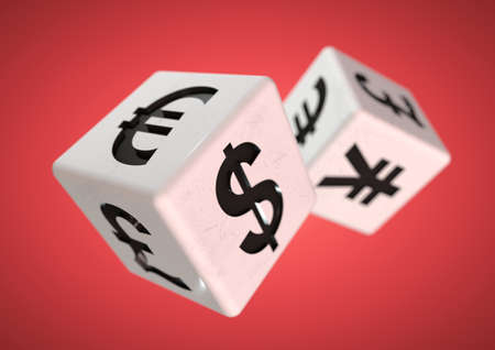 financial advice: 2 dice with currency symbols rolling isolated on background. Concept for financial advice when gambling or taking a chance on the financial stock markets.