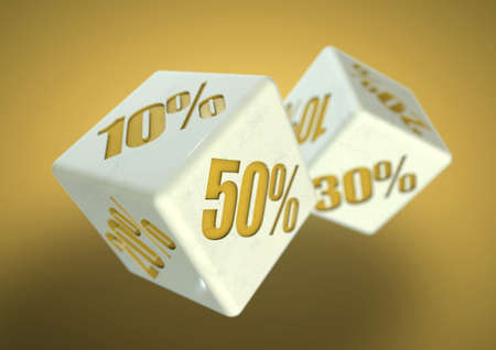 rolling dice: Percentage savings on dice side. Rolling dice to determine the percentage discount you can get. Concept for sale, deal, and discounted savings at shop or store. Stock Photo