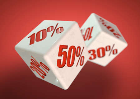 discounted: Percentage savings on dice side. Rolling dice to determine the percentage discount you can get. Concept for sale, deal, and discounted savings at shop or store. Stock Photo