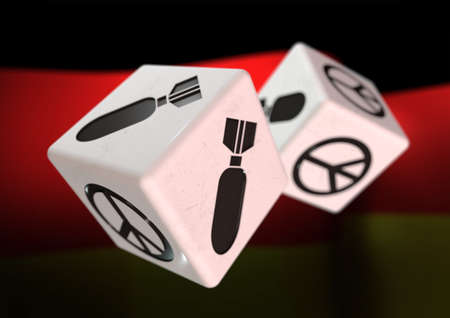 rolling dice: Dice with war and peace symbols on each side. Rolling dice with German flag in background. Concept for deciding to go to war or to choose peaceful alternatives.